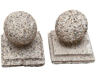 15. Pair of Diminutive Concrete or Cast Stone Garden Spheres