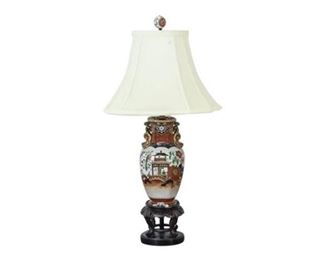 17. Antique English Ironstone Imari Urn Table Lamp