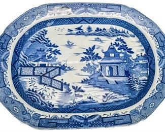 22. 19th English BLUE WILLOW Transferware Platter