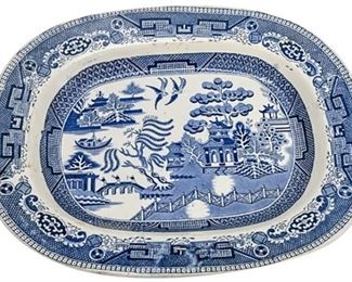 25. 19th c English Blue Willow Platter