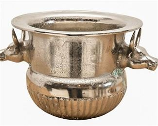 27. Polished Aluminum Steer Head Champagne Bucket