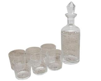 37. Art Deco Style Seven 7 Piece Glass DecanterLiqueur Set