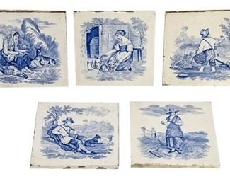 42. Lot of Five 5 Antique Blue and White Tiles