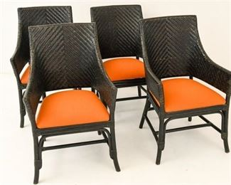 44. Set of Four 4 Bamboo  Rush Garden Chairs