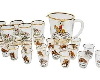 55. English Style Glass Equestrian Drinks Set
