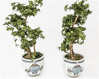 56. Fine Pair of Antique Chinese Porcelain Planters Republic Period