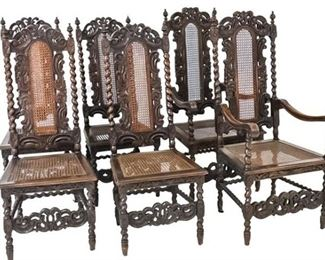 60. Set of Six 6 Charles II Style Dining Chairs