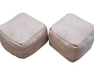 61. Pair of Handcrafted Leather Ottomans