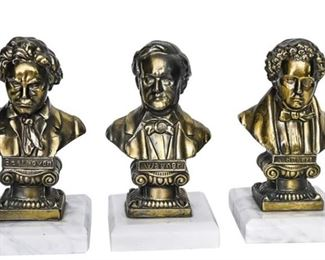 70. Set of Three 3 Decorative Busts of Composers