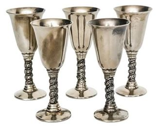 74. Set of Five 5 LEMSA Silver Plate Cordials