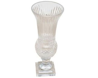 76. Contemporary Cut Glass Vase wStepped Base