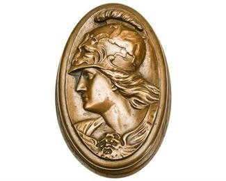 82. Oval Bronze Paperweight of Roman Soldier in Profile