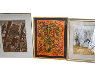 100. Group Lot of Artwork wAbstract MCM Painting