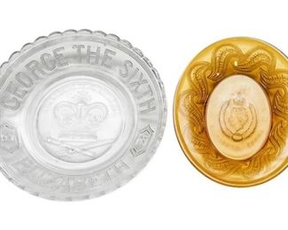 113. Pair of Depression Glass English Royal Family Commemorative Plates