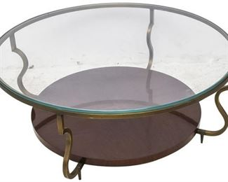 118. Contemporary Glass Top Table wScrolled Brass Legs