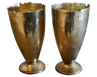 126. Pair Contemporary Brutalist Style Bronze Vases