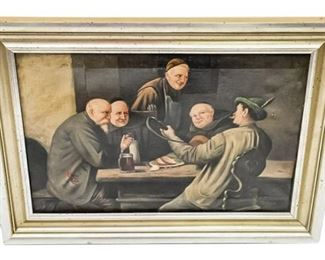 128. Antique Oil Painting of Travelers at Table