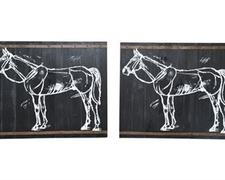 132. Lot of Two 2 Horse Stencil Paintings