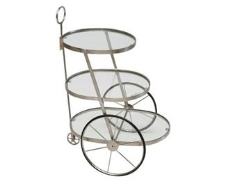 141. Rolling Three 3 Tier Contemporary Modern Bar Cart