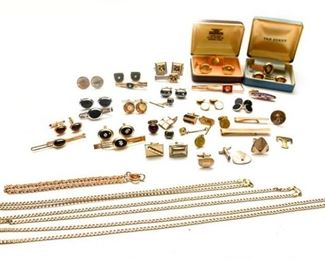 154. Large Mixed Lot Mens Gold Filled Cufflinks, Tie Bars, etc.