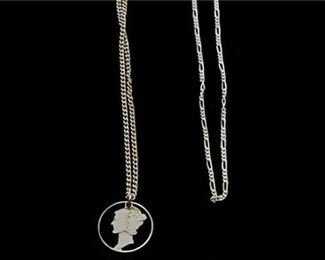 161. Vintage Silver MERCURY Dime Pendant wSterling Silver Necklaces