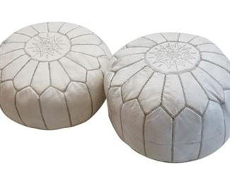 165. Lot of Two 2 White Leather Hassocks or Ottomans