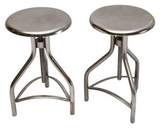 168. Pair of Stainless Steel Industrial Style Stools