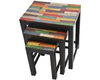 177. Contemporary Set of Three 3 Nesting Tables