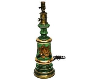179. Green Glass Gold Painted Floral Design Table Lamp