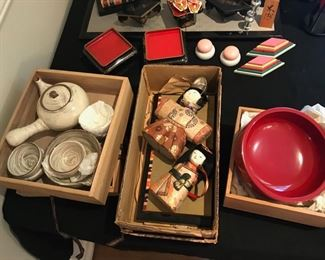 Chinese lacquerware & tea sets