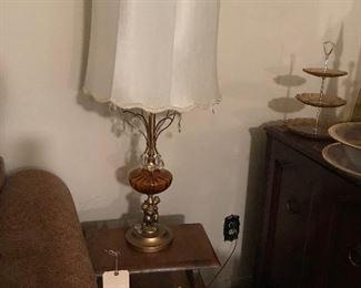 Amber glass angel/cherub lamp