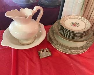 pitcher and basin-salt pepper-gold trim china