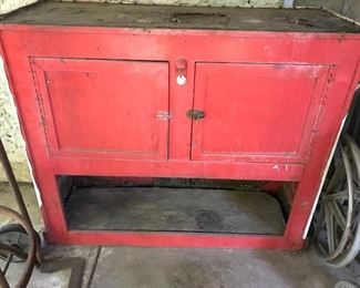 red potting cabinet