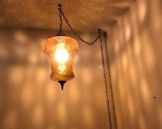 Amber hanging light retro