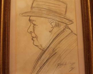 Winston Churchill Etching
