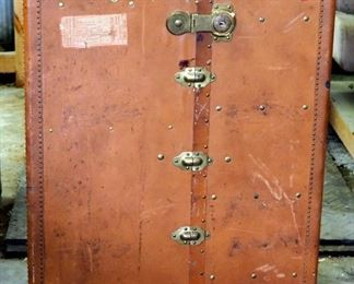 "Antique Leather Oshkosh Wardrobe Steamer Trunk With Brass Hardware And Ball Bearing Casters 43""H x 30""W x 23""D"