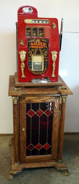 Mills 1940 25-Cent Golden Nugget Slot Machine, Serial #00342, Includes Keys, Coins Not Included, Mounted To Solid Wood Single Door Cabinet