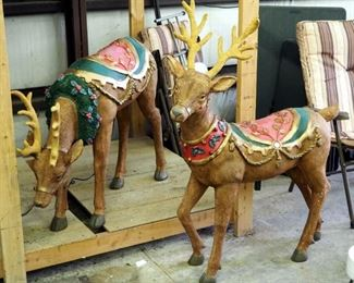 "Frontgate Hand painted Composite Christmas Reindeer 48""H And 32""H With Original Boxes"