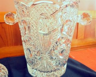 "Cut Waterford Crystal 10"" Decanter With 9"" Cut Crystal Ice Bucket With Handles"