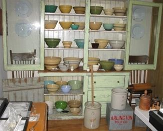 Fantastic primitive cabinet with assortment of mixing bowls    3 gal Red Wing churn  2 gal Red Wing crock   Milk boxes with Arlington Heights milk bottles