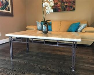 Ethan Allen coffee table, iron legs and marble top.  2 matching side tables are also available.