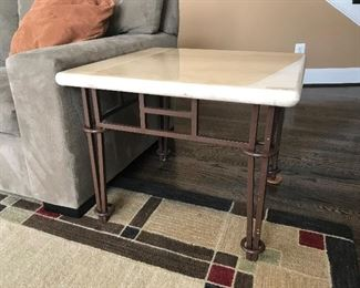 Set of 2 Ethan Allen side tables, iron legs and marble top.  1 matching coffee table is also available.