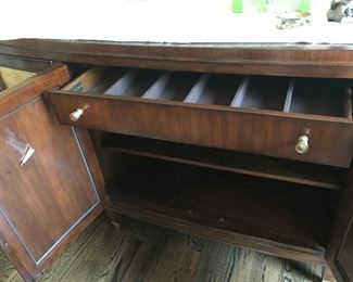 Side Board Buffet Table with built in silverware tray/drawer.  Excellent condition.
