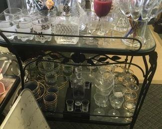 glassware, bar cart