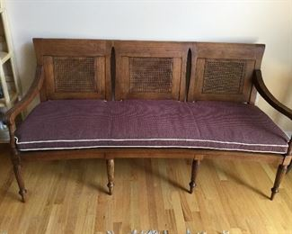 """UNIQUE WOOD FRAMED CANE BACK, ONE CUSHION  SETTEE/BENCH 70"""" LONG"""
