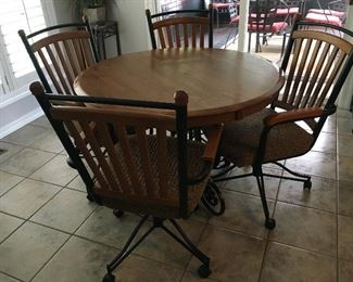 Kitchen Table w rolling chairs