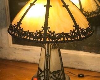 1920's Slag glass lamp.