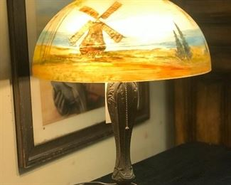 20th c reverse painted glass lamp with period base.