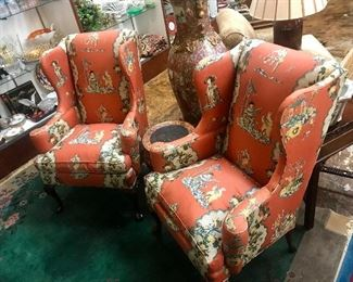 Pair of Hickory Chair wingbacks.