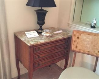Pair marble top small chests